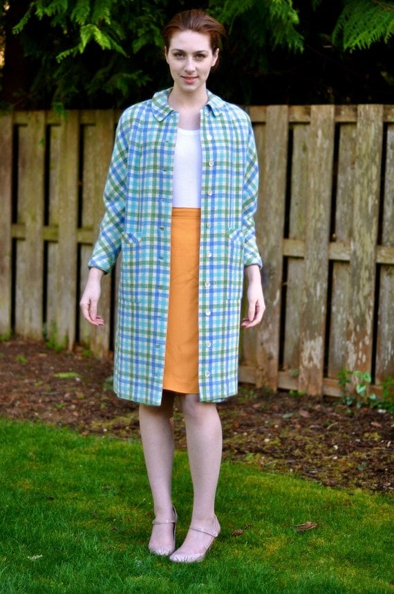 RESERVED FOR KOKIO - 60's 'Easter Bunny' Boxy Wool Plaid Coat (Size: Medium)