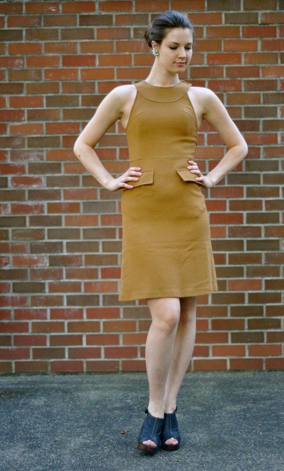 80's Camel Wool Dress (Size: XSmall)