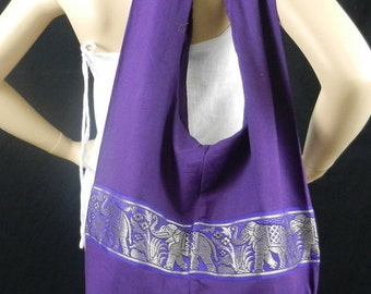 Elephant Sling Crossbody Bag Purse Messenger Hippie Hobo in Purple / 3 More Colors Available