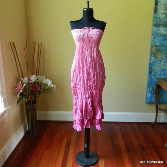 Tie Dye Maxi Long Skirt or Dress Hippie Bohemian Two Tone Beach Summer Sundress in Pink - Last One