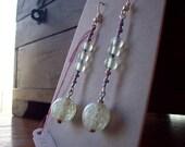 Long Seafoam green and purple with copper glass dangle earrings