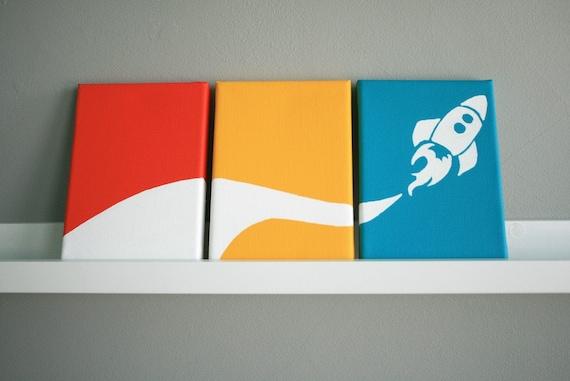 "Rocket Painting Series of 3 for a baby nursery, kids bedroom or playroom (each panel 5x7"")"