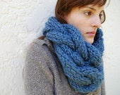 Braided Cable Cowl Hand Knit in Denim Wash Blue - MADE TO ORDER
