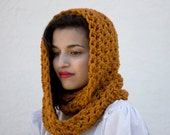 The Beginners Cowl Hand Knit in Mustard Wool Blend
