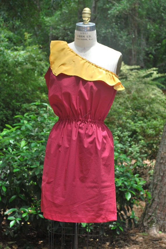 Garnet one shouldered with gold ruffle dress