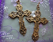 Large Antique Gold Cross Earrings Ornate Flat Backs