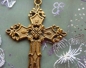 Gold Cross Pendant Ornate Flat Back