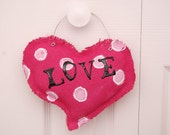 Custom Made Hot Pink Valentines Day Burlap Heart Door Hanger Greeter Ready to Ship