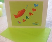 GO WISH Goldfish Hearts Collage Lime Green Birthday CARD Free Shipping
