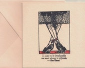 COCO CHANEL Card Black Stockings Pink Linen Card