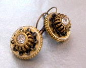 Lever Back Earrings Gear and Cog Steampunk Mechanical Inspired Earrings with Swarovski Crystal Mixed Metals