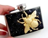 Belt Buckle Flask Steampunk Queen Bee 3 Ounce Metal Flask Vintage Inspired Neo Victorian