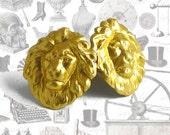Cufflinks Neo Victorian Lion Head Safari Cuff Links Vintage Inspired Brass Leo