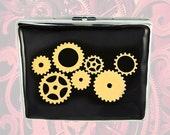 Metal Cigarette Case Steampunk Gear Cogs and Sprockets Metal Wallet Black Neo Victorian Large Business Card Case