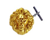 Lions Head Tie Pin Zodiac  Leo Tie Tack Pin with Bar and Chain Vintage Inspired Tie Accent