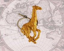 Giraffe Tie Pin Victorian Tie Tack Pin with Bar and Chain Safari Vintage Inspired Tie Accent