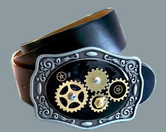 Belt Buckle Steampunk Gear cog and Sprockets Neo Victorian Watchwork Inlaid in Black Onyx Resin Metal Buckle