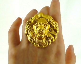 Large Lions Head Big Ring Neo Victorian Safari Steampunk Large Leo Statement Ring with Adjustable Band