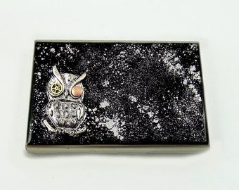 Robot Owl with Gear Watch Parts Metal Accordion Wallet Inlaid in Hand Painted Enamel Sci Fi Fantasy Card Holder with Personalized Options