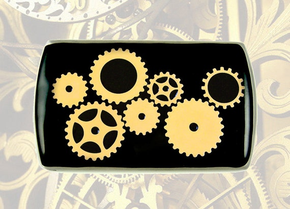 Metal Card Case Gear Cogs and Sprockets Inlaid in Hand Painted Enamel Steampunk Inspired Vertical Case Custom Colors and Personalized Option