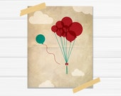 """Graphic Art Illustrated Balloon Print """"Choose Your Own Path"""" in Teal and Deep Rep on Tea Stained Paper Image"""