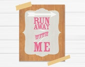 Run Away with Me 8x10 Fine Art Print in Hot Pink and Light Gray