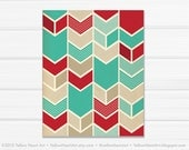 Graphic Fine Art Chevron Geometric Print in Teal and Red / 8x10 / by Yellow Heart Art
