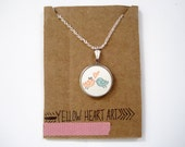 """Fabric Pendant Necklace """"Little Birdies in Love"""" in Pink and Mint Green"""