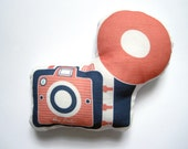 Camera Brownie Plush / Pillow in Coral and Navy by Yellow Heart Art