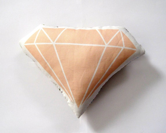Diamond Plush / Pillow in Peach by Yellow Heart Art