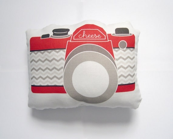 Camera Plush / Pillow in Red, Tan and Brown Chevron by Yellow Heart Art featured in Every Day with Rachael Ray Magazine