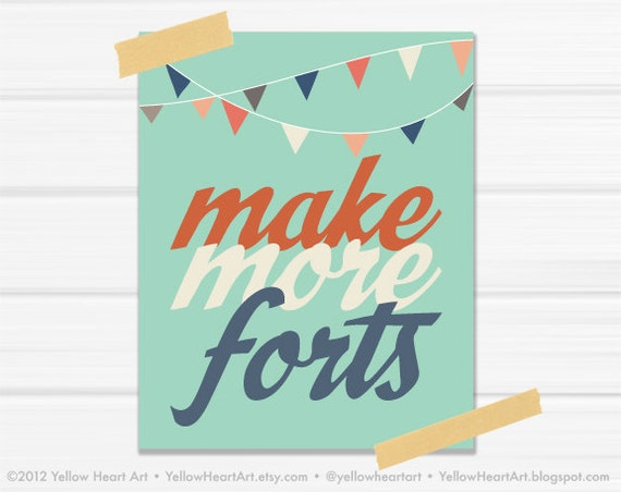"Graphic Art Print ""Make More Forts"" in Mint, Burnt Orange and Blue"