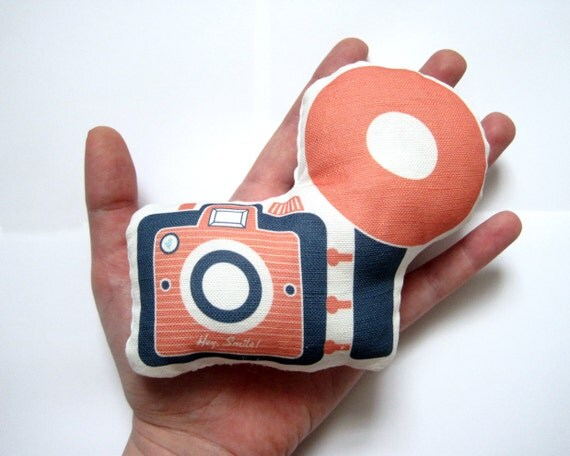Mini Camera Brownie Plush / Pillow in Pink and Navy by Yellow Heart Art