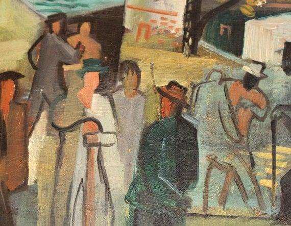Vintage Oil Painting - Active Harbor Scene