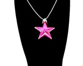 Hot Pink Metallic Shining Star Necklace (Funky Felt Flowers)