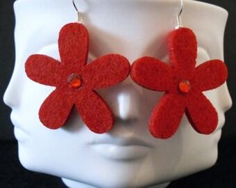 Ruby Funky Felt Flowers Earrings
