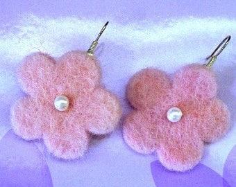 Mini Pink Funky Felt Flowers Earrings