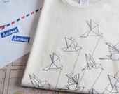Airmail Origami Tshirt, Men/Unisex in Natural, Organic Cotton Tee