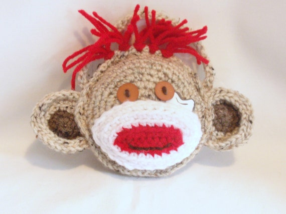 SOCK MONKEY Crocheted Tooth Pillow for Boys and Girls Birthday, Special Occasion  Ready to Ship