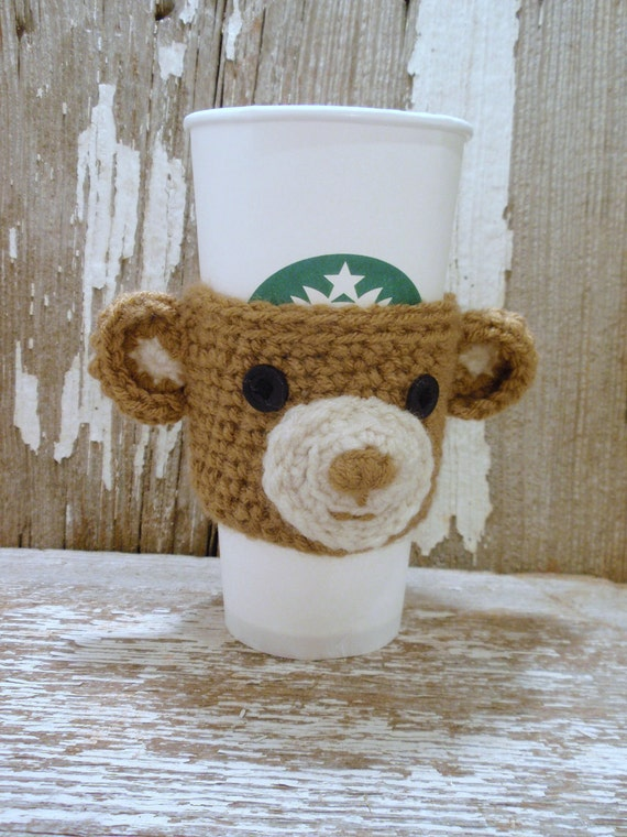 Honey Brown  Bear  crocheted  Coffee Sleeve  or Tea  COZY  . . .