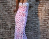 Lace Evening Dress Size 8 Strapless with Pink, blue, & red Splattered Paint