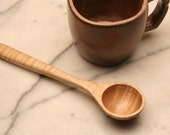 Wooden coffee scoop measuring spoon of curly Maple