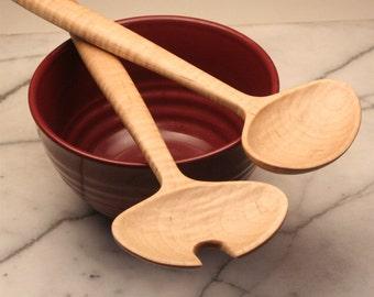 Handmade wooden Salad serving set of Maple wood , Wedding salad set , Modern design