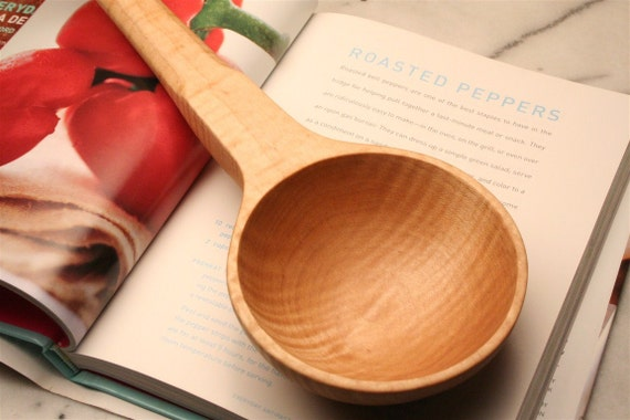 Wooden spoon reproduction of an antique long handled cup measure