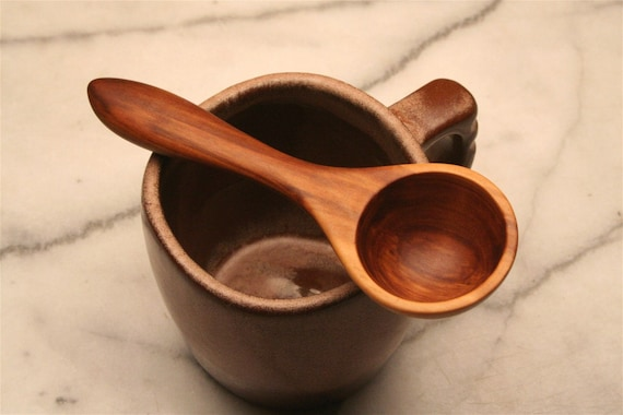 Apple wood wooden spoon coffee measure and 1 tablespoon measuring spoon