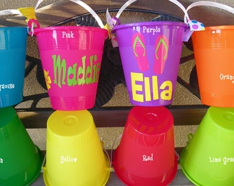 Personalized sand pail beach buck et great party favors