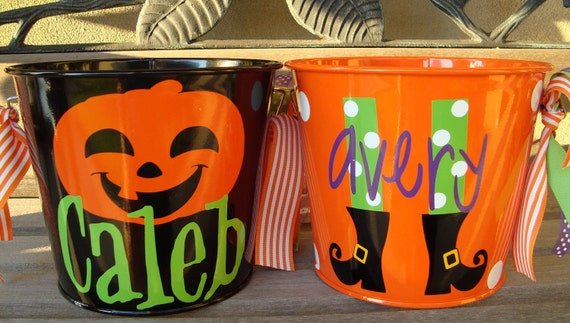 Personalized Halloween Buckets 5 qts - multiple colors and designs available
