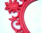 Vintage Hot Pink Mirror Hollywood Regency Vintage Mirror ornate hot pink oval frame