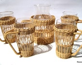 Iced Tea Set Pitcher and glassses with wicker sleeves 1970s vintage glassware serving
