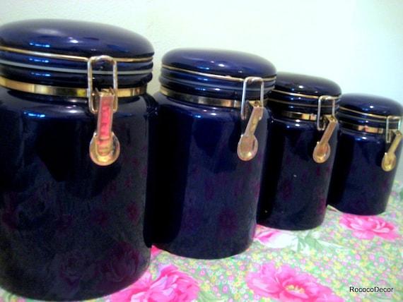 4 Vintage Cobalt Blue Ceramic Kitchen Canisters